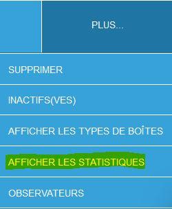 Menu Afficher statistiques Site
