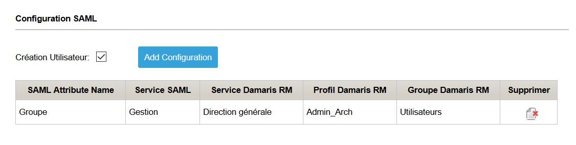 Configuration utilisateurs SAML
