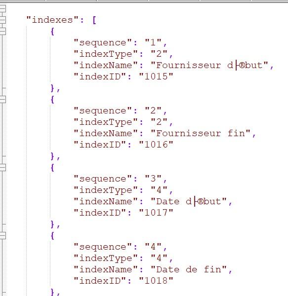 JSON archiving getDocumentTypeIndexes