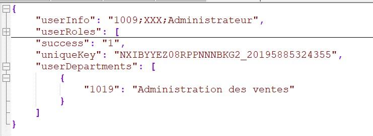 Web Service login chooseDepartment