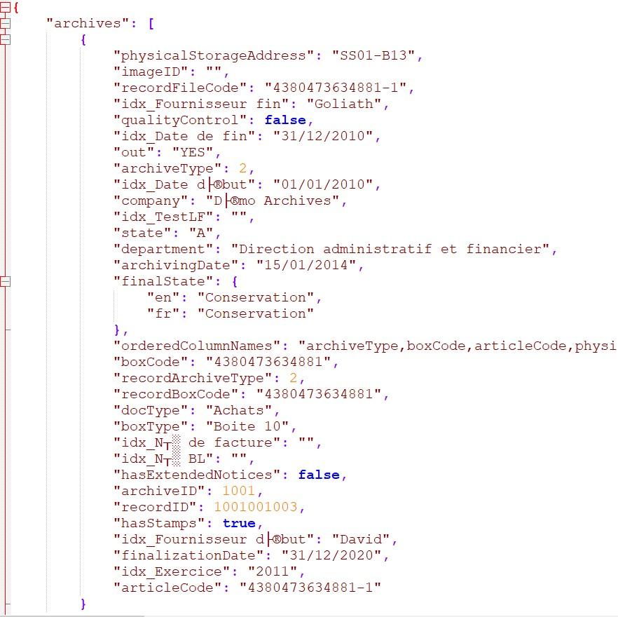 JSON résultat search / searArchives