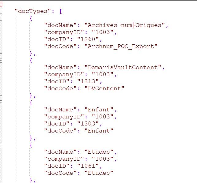 JSON getDocumentTypes