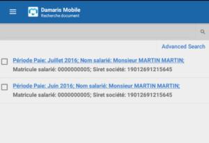 Damaris Mobile Liste résultats