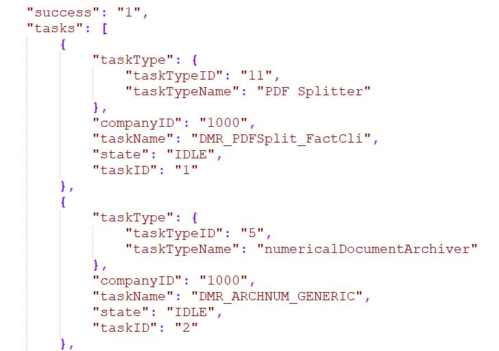 Web Service getTasksList JSON