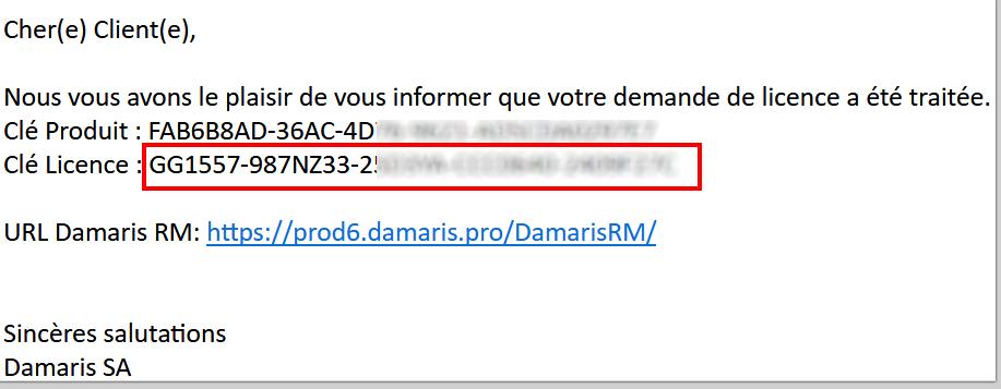 Email de validation licence Damaris RM