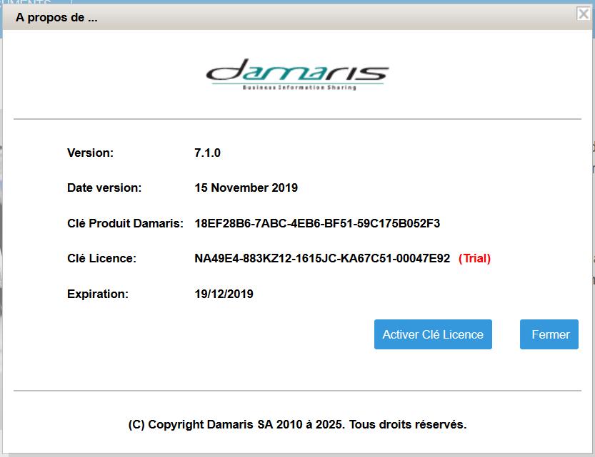 Licence Damaris RM version de test