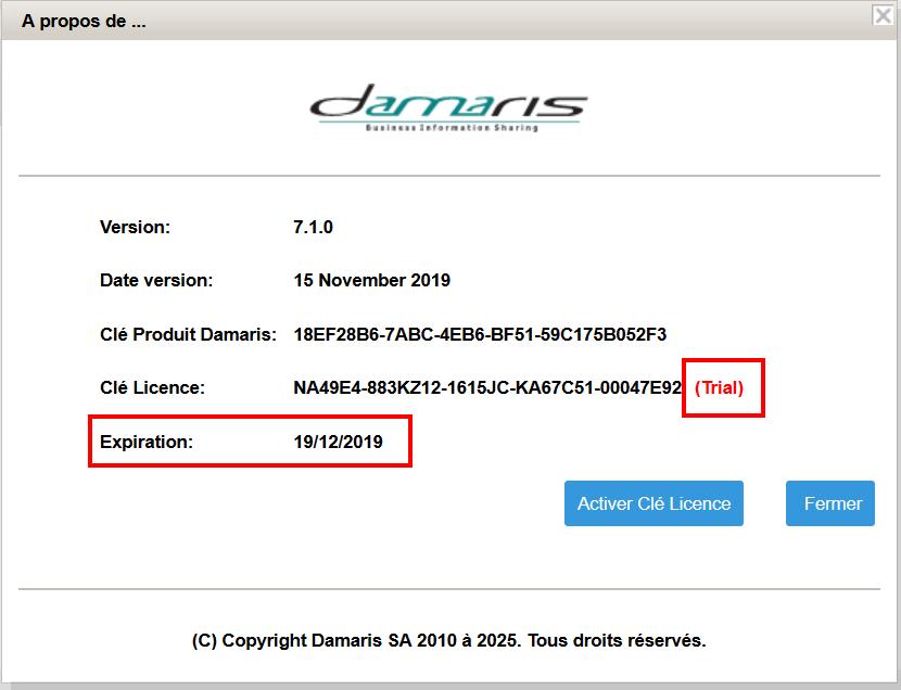 Popup Licence Damaris RM vérification
