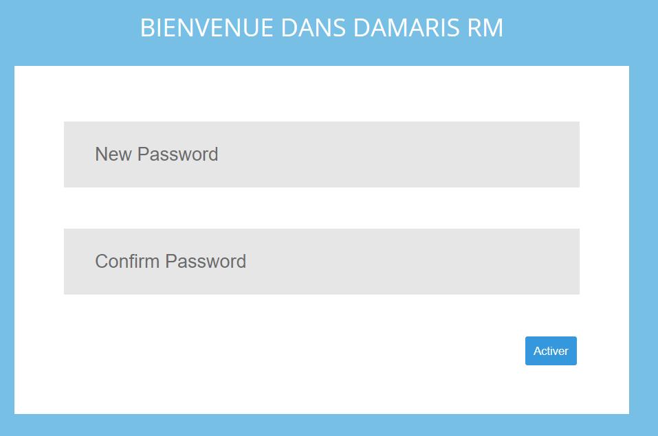 Réinitialisation mot de passe